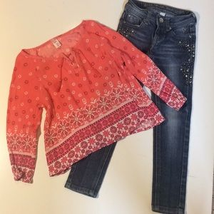 Justice Girls Premium Jeans 6 Slim / Top Size 6